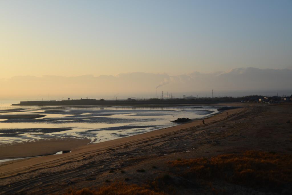 河原津海岸からの朝焼け