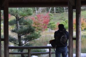 紅葉を撮影するカメラマン