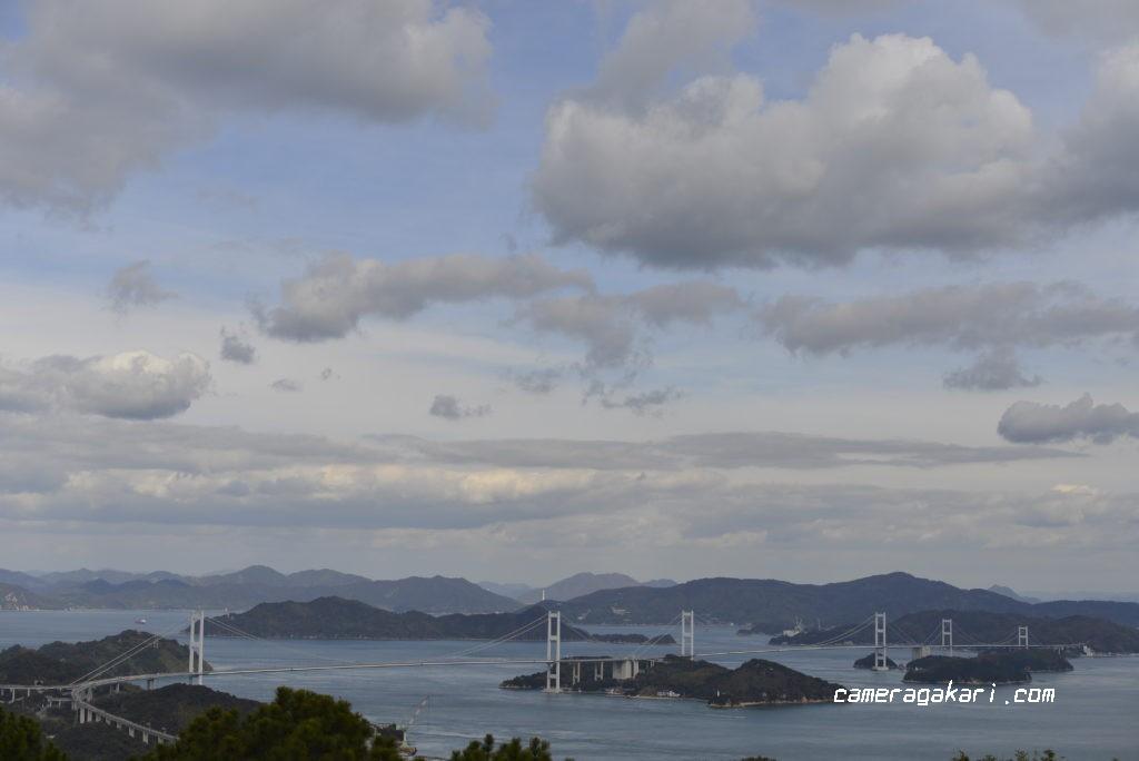 近見山展望台から見たしまなみ海道来島海峡大橋