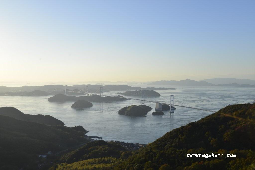 安藤ポイントから撮影した来島海峡大橋
