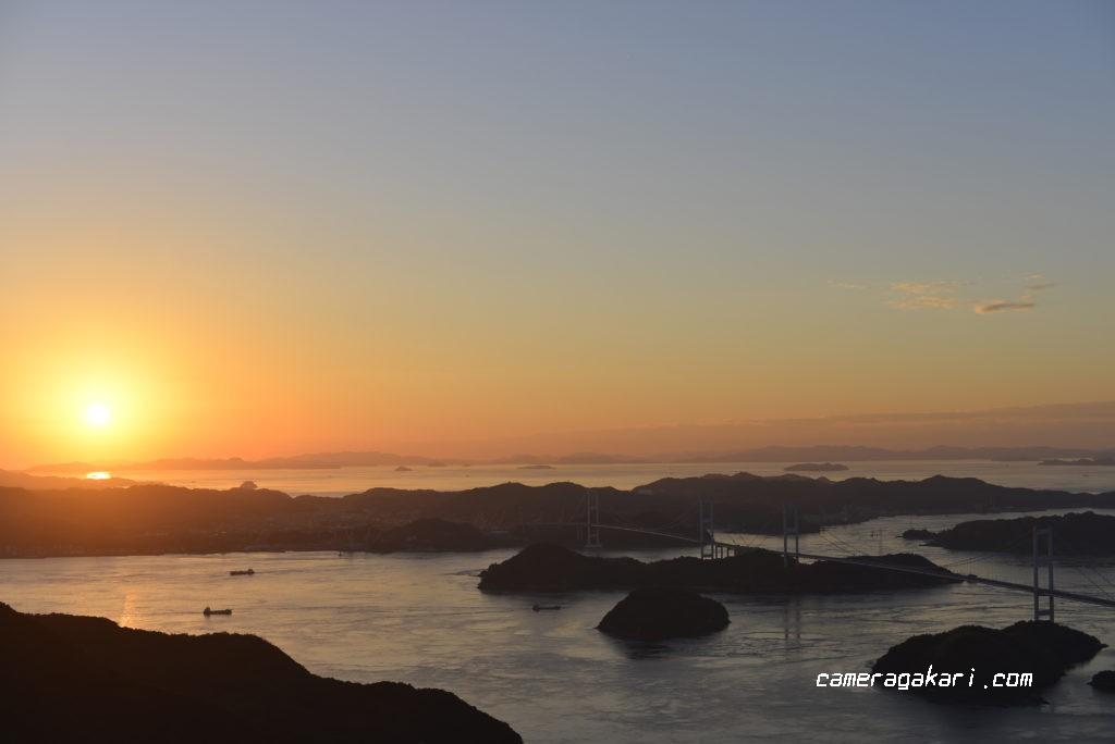 亀老山展望台からの夕日