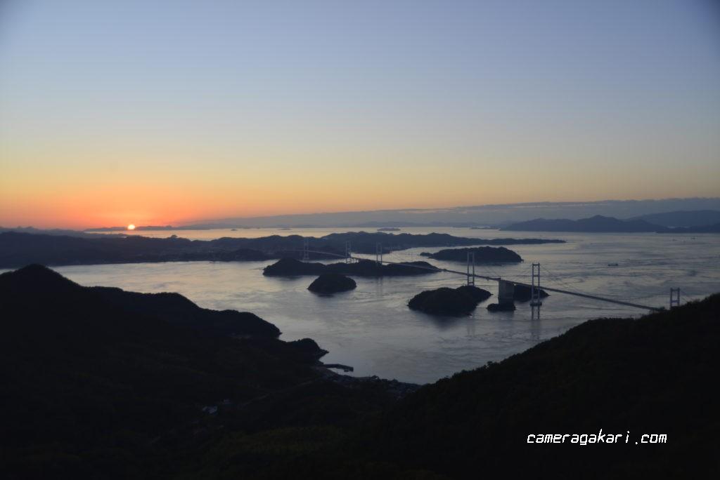亀老山展望台からのしまなみ海道の夕日