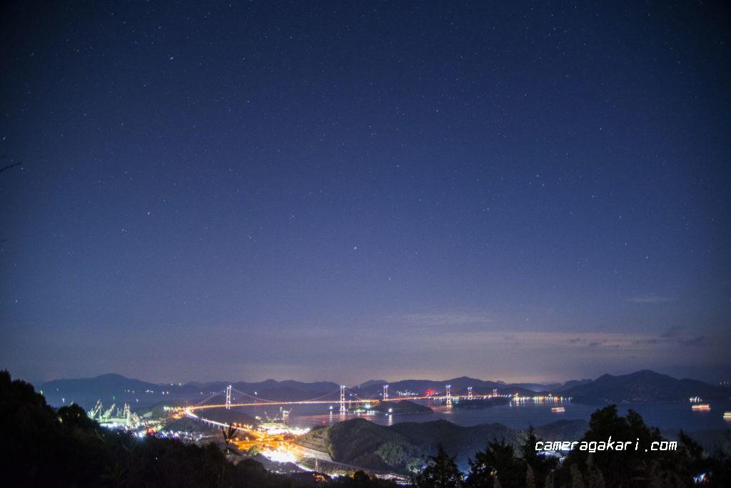 来島海峡大橋の星空夜景