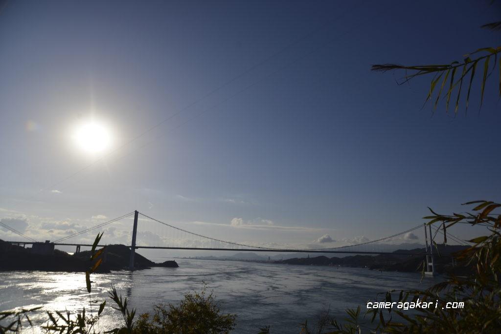 北砲台の司令塔跡からの来島海峡大橋