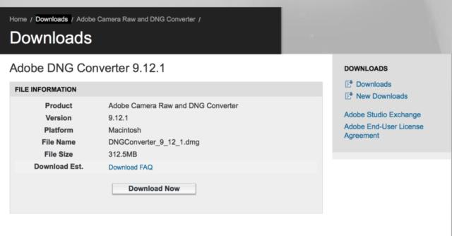 Adobe DNG Converter インストール